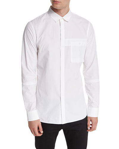 Utility-Pocket Button-Down Shirt, White