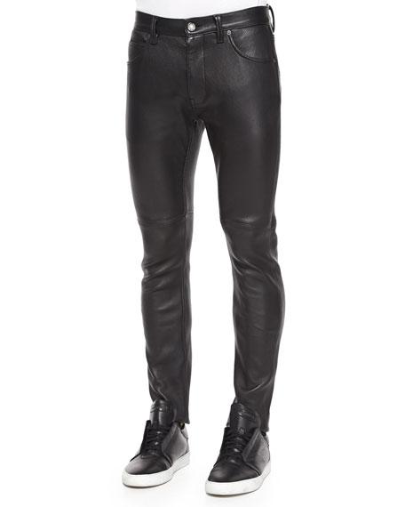 Helmut Lang Stretch-Leather Skinny Pants, Black