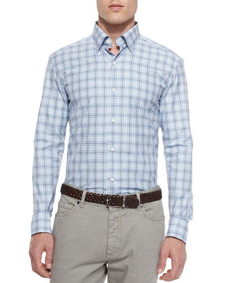 Ermenegildo Zegna Plaid Long-Sleeve Sport Shirt, Blue