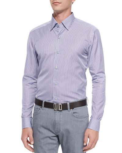 Bengal-Stripe Sport Shirt, Purple/Light Blue