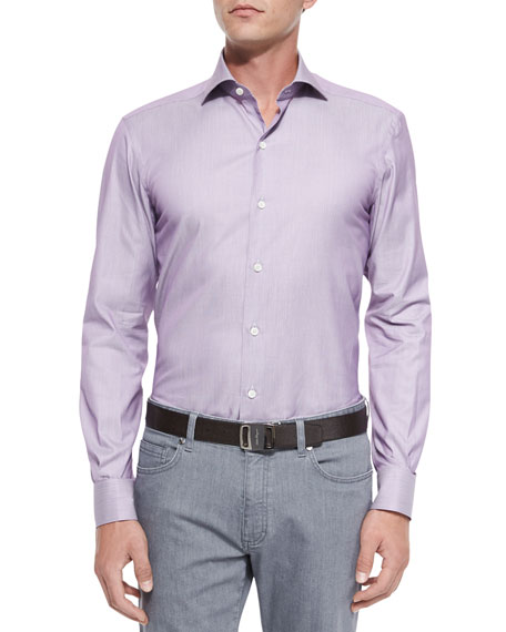 Textured Circle Jacquard Sport Shirt, Mauve