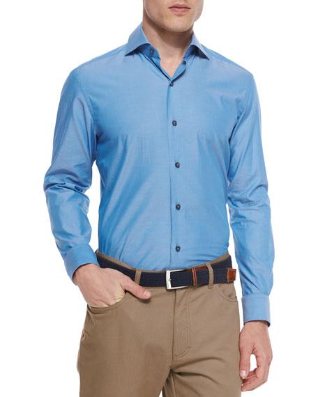 Ermenegildo Zegna Solid Chambray Sport Shirt, Teal