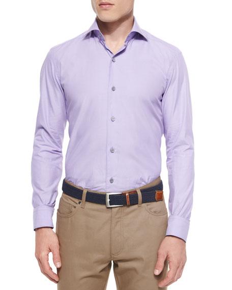 Ermenegildo Zegna Solid Chambray Sport Shirt, Purple