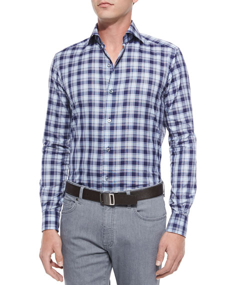 Ermenegildo Zegna Large Plaid Woven Sport Shirt, Navy
