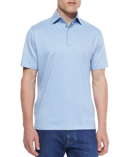 1x1 Knit Polo Shirt, Blue