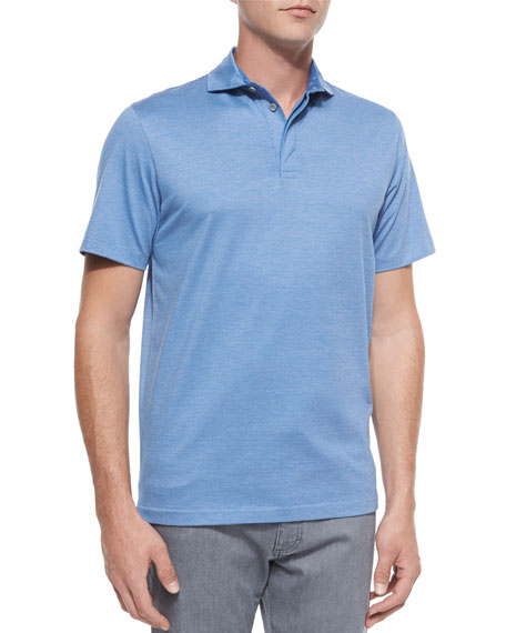 Ermenegildo Zegna Skinny-Stripe Polo Shirt, Bright Blue