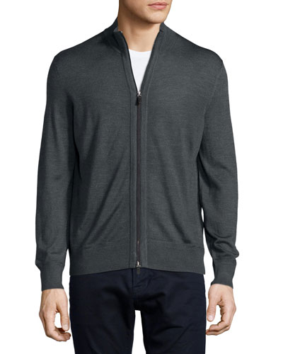 High-Collar Full-Zip Cardigan, Dark Gray
