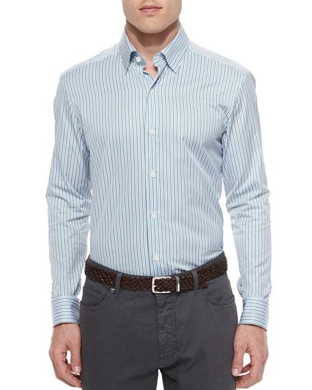 Ermenegildo Zegna Striped Long-Sleeve Sport Shirt, Green