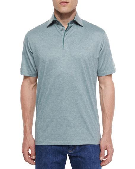 Ermenegildo Zegna 1x1 Knit Polo Shirt, Green