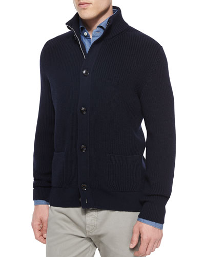 Button-Front Wool Cardigan, Navy