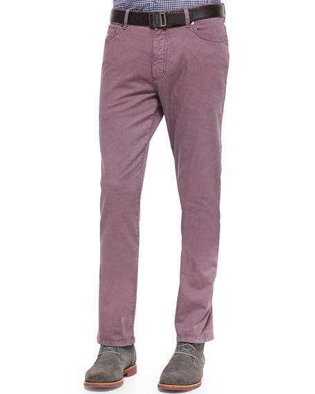 Ermenegildo Zegna Five-Pocket Slim Fit Pants, Mauve