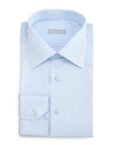 Striped Woven Dress Shirt, Light Blue