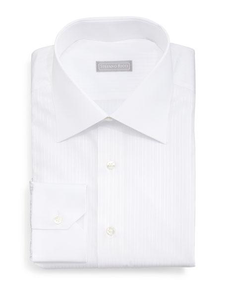 Stefano Ricci Contrast-Collar Narrow-Stripe Dress Shirt, White