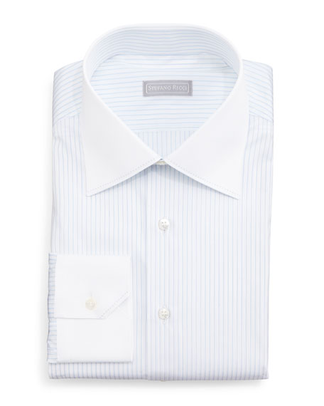 stefano ricci contrast collar narrow stripe dress shirt
