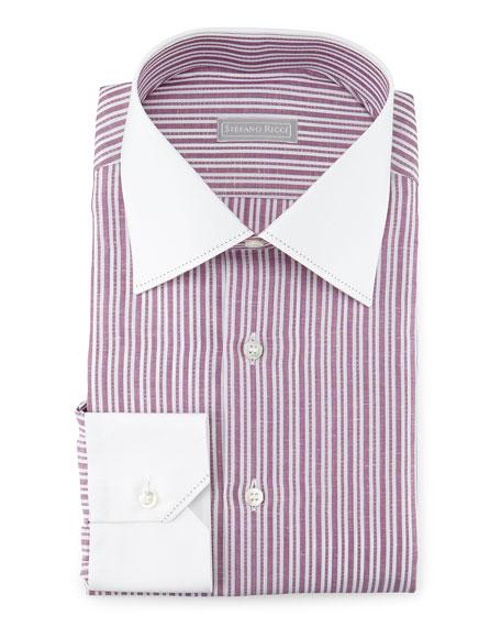 Stefano Ricci Contrast-Collar Striped Dress Shirt, Mauve