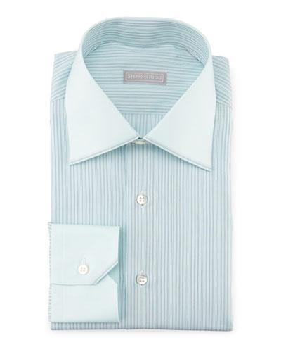 Contrast-Collar Striped Dress Shirt, Mint