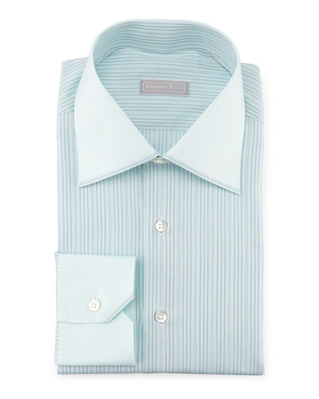 Stefano Ricci Contrast-Collar Striped Dress Shirt, Mint