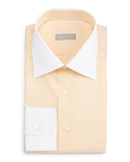 Stefano Ricci Contrast-Collar Striped Dress Shirt, Yellow