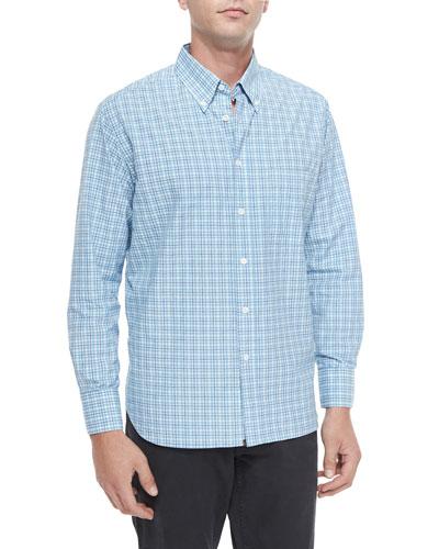 Brooks Plaid Long-Sleeve Sport Shirt, Blue