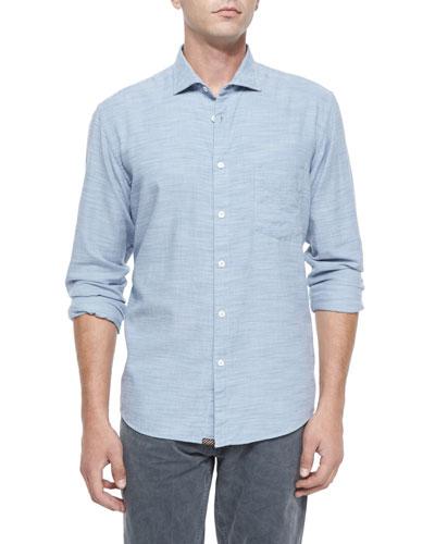 John T Pique Linen Shirt, Blue