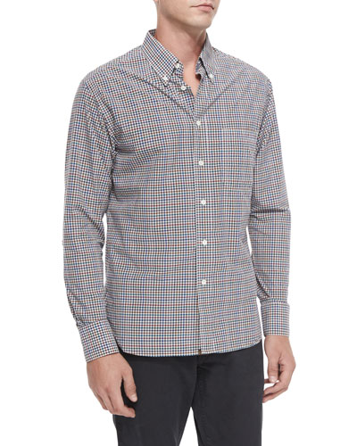 Gingham Long-Sleeve Sport Shirt, Multi
