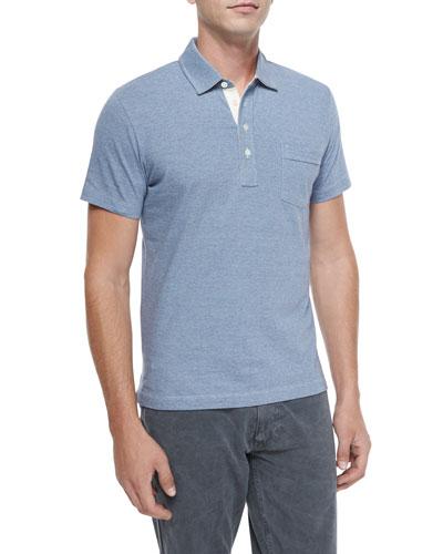 Pensacola Mini-Stripe Polo Shirt, Blue