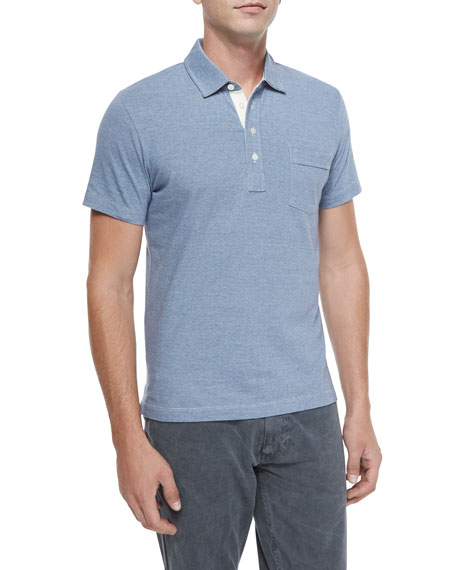 Billy Reid Pensacola Mini-Stripe Polo Shirt, Blue