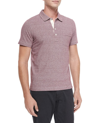 Pensacola Mini-Stripe Polo Shirt, Red Pattern
