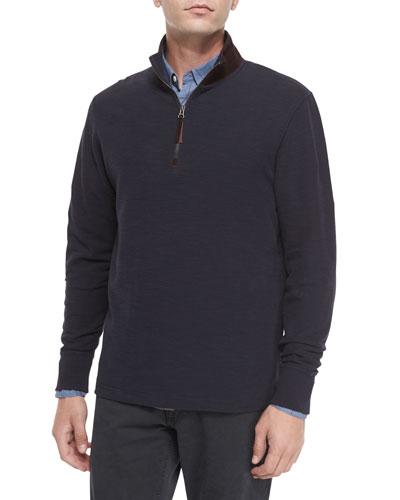 Half-Zip Knit Pullover with Suede Collar, Navy