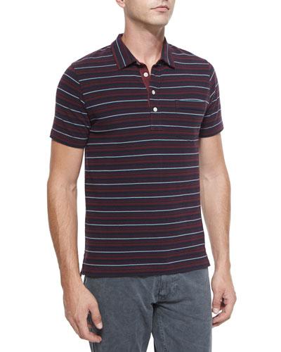 Pensacola Striped Pique Polo Shirt, Red Pattern