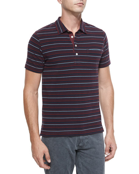 Billy Reid Pensacola Striped Pique Polo Shirt, Red