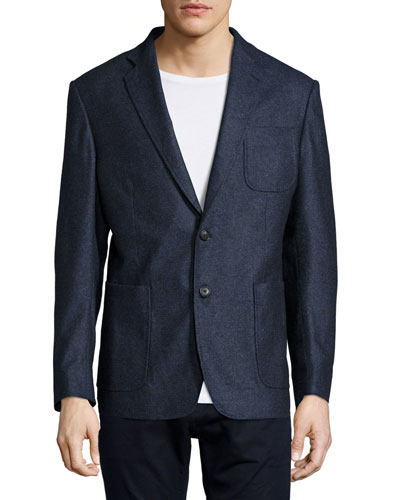Rustin Lightweight Two-Button Blazer, Gray
