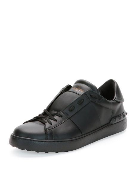 Valentino Garavani Low-Top Sneaker with Tonal Stripe, Black