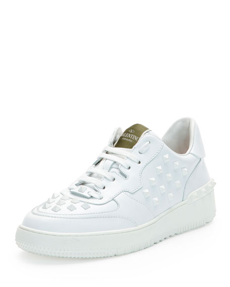 Valentino Rock Be Studded Low-Top Sneaker, White