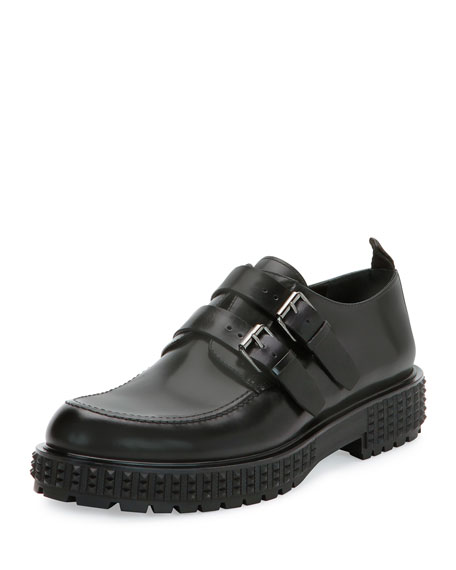 Valentino Punky-Chic Double-Monk Shoe, Black