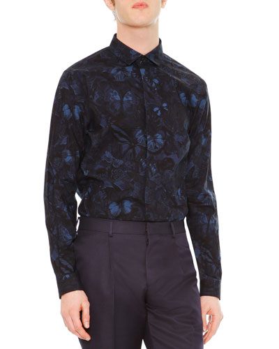 Camu Butterfly-Print Dress Shirt, Navy