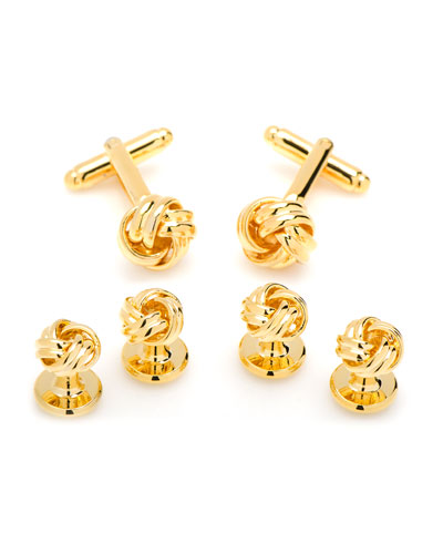 Golden Knot Cuff Links & Stud Set