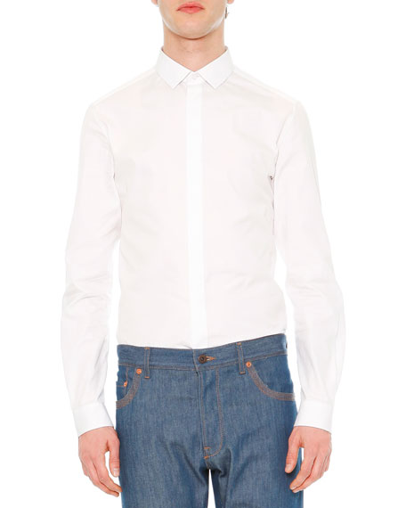Solid Long-Sleeve Shirt, White