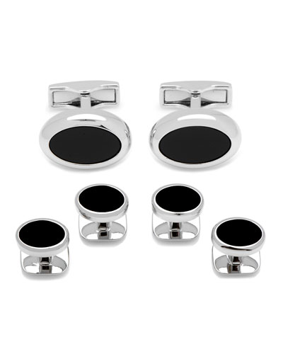 Onyx Stone Cuff Links & Stud Set