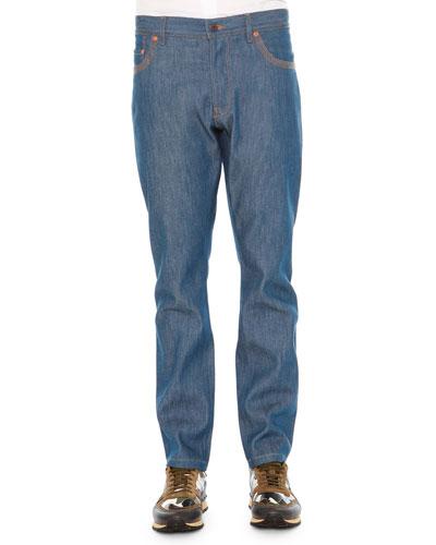 Contrast-Stitch Denim Jeans, Light Blue