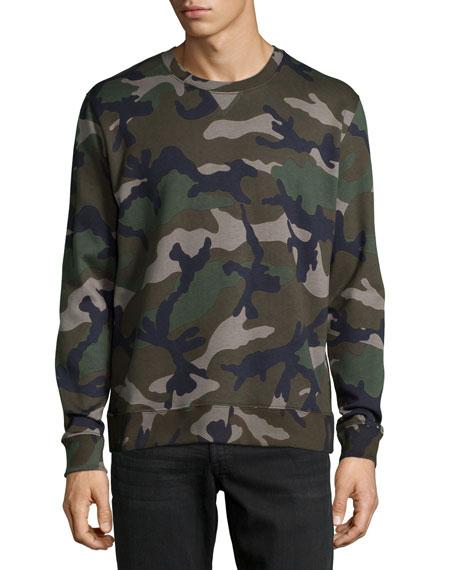 Valentino Camo-Print Crewneck Sweatshirt, Green