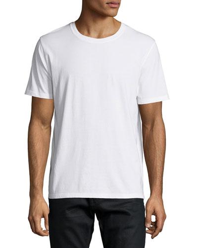 Short-Sleeve Shirt with Back Stud, White