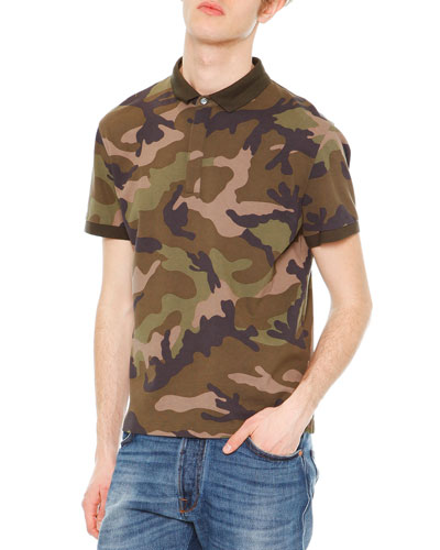 Camo-Print Short-Sleeve Polo Shirt, Green