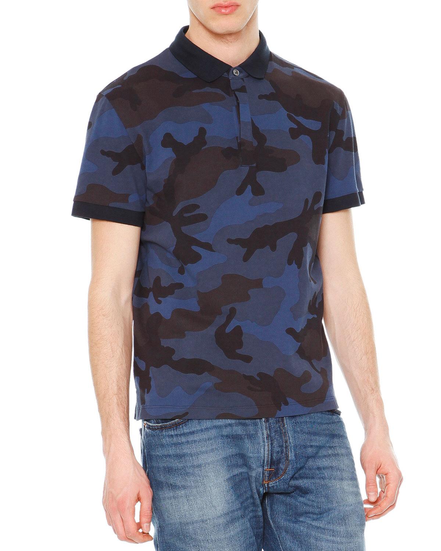 5f03c4638 Valentino Camo-Print Short-Sleeve Polo Shirt, Navy | Neiman Marcus