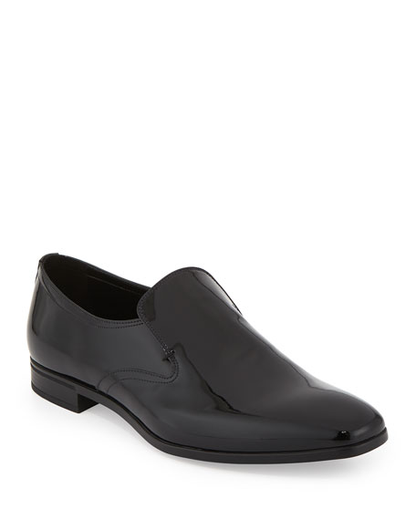 Prada Patent Leather Slip-On Loafer, Black