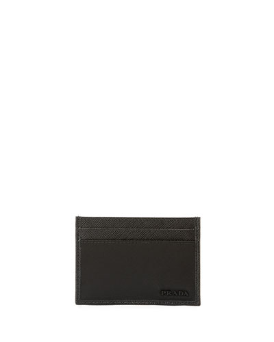 Nylon/Leather Card Case, Black