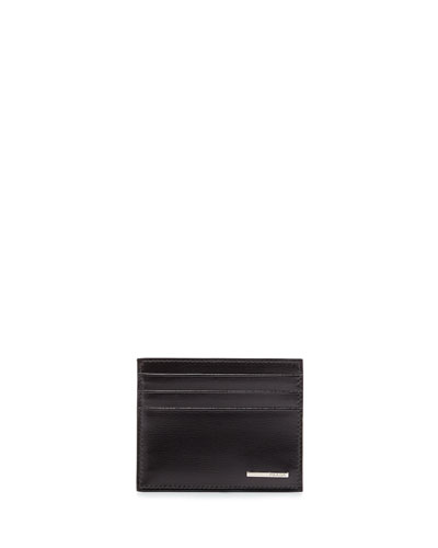Vitello Leather Card Case, Black