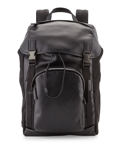 Prada Men's Double-Buckle Backpack, Black