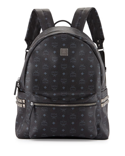 Visetos Side-Studded Canvas Backpack, Black
