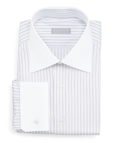 Stefano Ricci Contrast-Collar Narrow-Stripe Dress Shirt, Lavender
